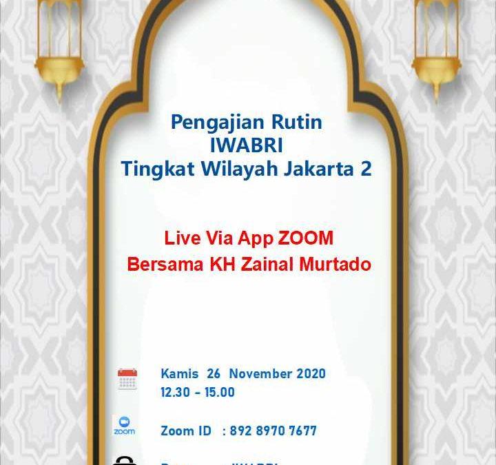 Pengajian Rutin IWABRI Tingkat Wilayah Jakarta 2 (November 2020)
