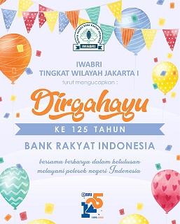 IWABRI Tingkat Wilayah Jakarta 1 turut berpartisipasi secara virtual pada HUT BRI Ke 125 tahun